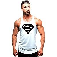 WICHENG Verano nuevos Hombres Marca Fitness Deportivo Tops de los Hombres sin Mangas del Tanque Personalizado Tops Jogging Aptitud Imprimir Chaleco (Color : White, Size : M)