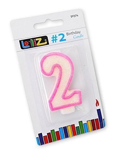 LolliZ número vela. # 2segundo cumpleaños–pack de 1. Rosa en color blanco con purpurina. Diseño único de Novelty