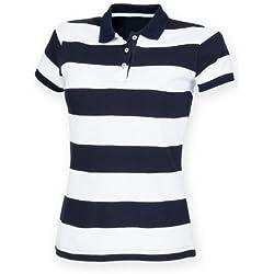 Front Row- Polo a rayas de piqué ajustado para mujer (Extra Grande (XL)/Azul marino/Blanco)