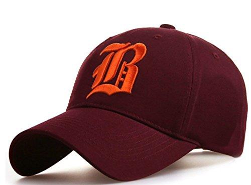 Unisex Damen Herren Baseball Cap Caps Gothic Letter B Hüte Mützen Snap Back Hat Hats Fanny (B Maroon - Yachting Kostüm
