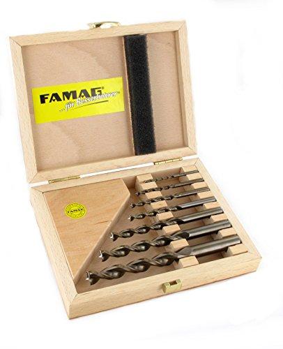 Famag Spiralbohrer Set für Holz, 7-teilig, HSS-G, Holzbohrer ø 3-12 mm, in praktischer Holzbox, 1594507