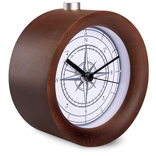 Navaris Despertador de Madera analógico - Reloj Redondo con luz y Esfera Negra - Despertador Circular...