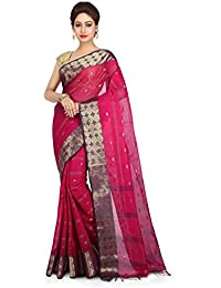 WoodenTant Pink & Purple Cotton Handloom Saree With Zari Buti Work For Women