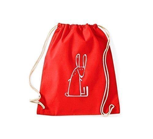 ShirtInStyle Gym Sack Turnbeutel Lustige Tiere Hase Kaninchen Farbe Rot (Bio-kaninchen Essen)