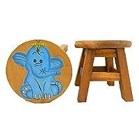 Thai Gifts Childrens Wooden Stool - Blue Elephant Design