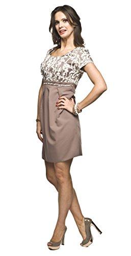 2in1 Elegantes und bequemes Umstandskleid/Stillkleid, Modell: Ronja, beige - 3