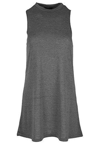 Damen Polo Rollkragen Pulli Damen Ärmellos Baggy Tunika Kleid Überdimensional Swing Top Plus Größe Dunkelgrau