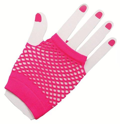Forum Novelties Inc. 80er Jahre Neon Pink Fingerlose Fischnetz Kostüm Handschuhe für Erwachsene
