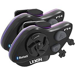 LEXIN LX-FT4 Intercom Moto Dua Bluetooth Communication Systèmes Anti Bruit Jusqu'à 4 Motards Portée 1.2 Mile pour Casque Motocycle/Motocyclette/Motoneige/Ski/Planches à Roulettes