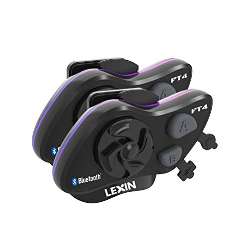 LEXIN FT4 2X Motorrad Intercom, Headset Bluetooth Helm Gegensprechanlage bis zu 4 Fahrer Kommunikation Geräuschunterdrückung Reichweite von 2000 Metern mit FM, Siri, S-Voice für Fahrrad