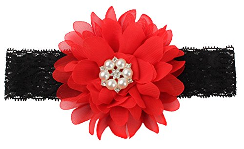 EOZY Bébé Fille Fleur Mignon Perle Décor Bandeau Cheveux Élastique Noir/Rouge