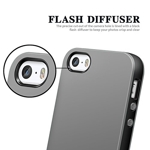 iPhone SE Hülle, Pasonomi® Weich Silikon Bumper Case und Anti-Scratch Handy Tasche Schutzhülle für Apple iPhone SE 5S 5 (Grau) Grau