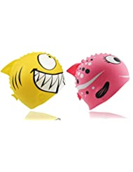 CooKey enfants Bain Chapeaux, Kids 'Fun Coque en silicone Bonnet de bain, Lot de 2Animal en forme de poisson pour garçon et fille/à partir de 3–12