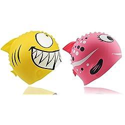 Cookey Kids Swim Sombreros, Kids Fun Silicona Swim Cap, 2 Pack Animal Fish en Forma de Niños y Grils Envejecido 3-12