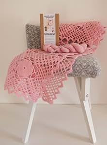Luxus Spitze Crochet Baby-Decke–100% natürliche, weiche Lammwolle Garn (beige)