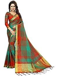 PerfectBlue Cotton Silk Saree With Blouse Piece (Redgreenziikkatt_Red Green_Free Size)