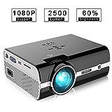 OCDAY Mini Projecteur 2500 Lumens Vidéoprojecteur Portable Retroprojecteur, Home Cinéma Soutien Dolby 1080p pour USB HDMI SD VGA AV Compatible avec Smartphone, Laptop, PS3, PS4, X-Box One