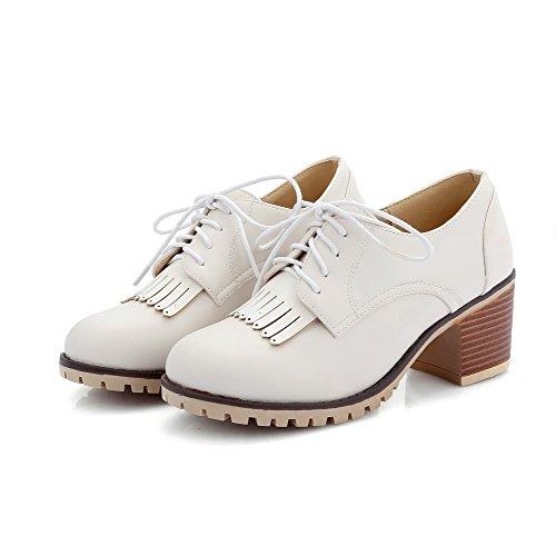AgooLar Femme Matière Souple Lacet Rond à Talon Correct Couleur Unie Chaussures Légeres Blanc