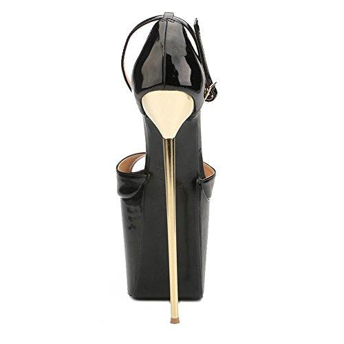L@YC Talons Hauts des Femmes 22cm Ultra-Haute en Acier Fin avec des Chaussures Formelles Printemps Automne PU Dress Party & Soirée black