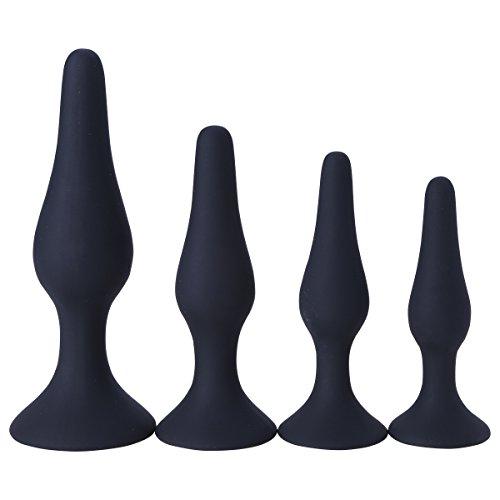 CHICTRY 4pc jouets-pour-adultes-Anal-Butt-Plug-anal-en-silicone pr la tombola la saint valentin mariage cocktail Noir Multi