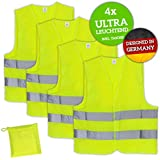 Huckleberry Home Premium Hi-Vis Vest 4 Pack Neon Yellow Ultra Reflective Car Breakdown Safety Vest - Breathable and High Quality Running Vest for Jogging, Bike with High Visibility