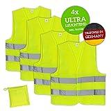 Huckleberry Home® Premium Warnweste KFZ 4er Set mit Tasche - EN ISO 20471 - Neon Gelb reflektierende Auto Sicherheitsweste für Pannen - Für Erwachsene und Kinder