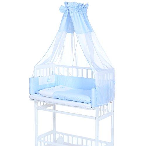 Eltern Baby Beistellbett 90x55 cm; 8-fach Höhenverstellbar incl. Matratze und 8 tlg. Bettwäsche Set; Weiss Blau