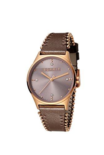 Esprit Damen Analog Quarz Uhr mit Leder Armband ES1L032L0045 (Damen Collection Leder)