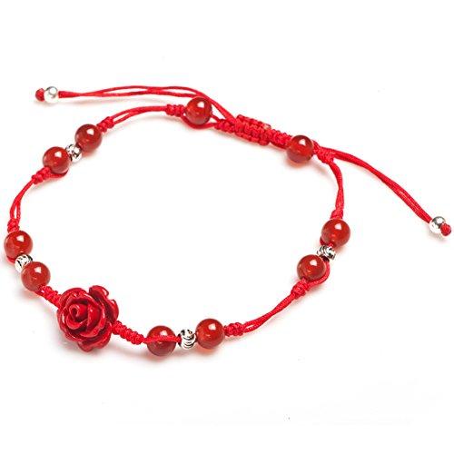 catena corda rossa/Agata nera con catena rosa rosso-B