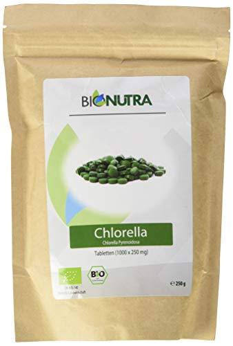 BioNutra® Chlorella-Presslinge Bio 1000 x 250 mg Tabletten, 100% rein & natürlich, rückstandskontrolliert, membrangebrochen, nach EU-ÖKO-Standard kultiviert und hergestellt, 250 g Großpackung