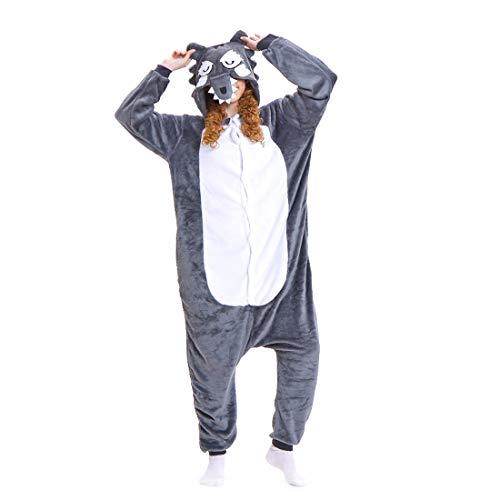 ll Hoodie Tier Pyjama Grauer Wolf Cartoon Pyjamas Onesies Overall Nachtwäsche Erwachsene Nachtwäsche Kigurumi Cosplay Kostüm ()
