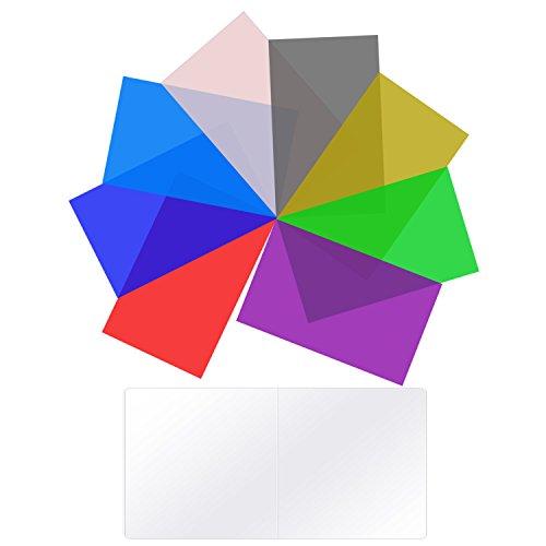 Neewer 8 stück Beleuchtung Farbfilter Gel Transparent Farbkorrekturfilter in 8 Verschiedenen Farben für Neewer CN 160 CN 126 CN 216 LED Videoleuchte, 9 x 13,7 Zentimeter