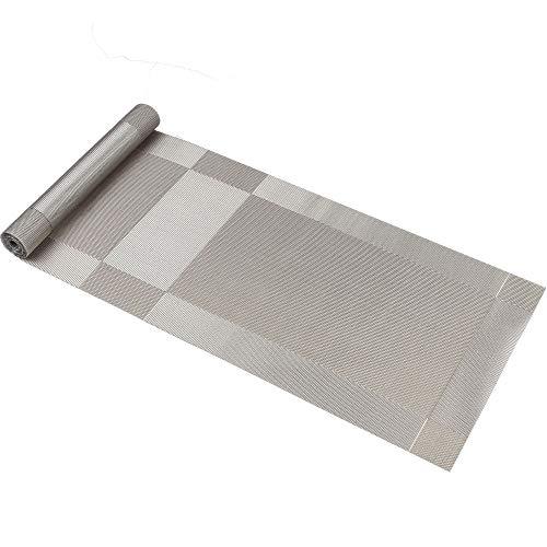 Tischläufer Famibay Hitzebeständig Waschbar Vintage Vinyl PVC Tischläufer 135CM (Kunststoff Grau Silber)