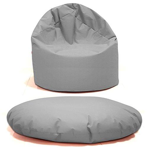 Sitzsack 2 in 1 Sitzbag Größe S-M-L-XL-XXL-XXXL-XXXXL mit Styropor Füllung - In & Outdoor - verschiedene Farben & Größen - Bean Bag Sitzkissen Bodenkissen Hocker Kinder Sitzsäcke Möbel Kissen Sessel Sofa (M = ca.75cm Rund Durchmesser, Grau/Hellgrau)