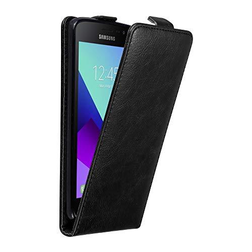 Cadorabo Hülle für Samsung Galaxy XCover 4 in Nacht SCHWARZ - Handyhülle im Flip Design mit Magnetverschluss - Case Cover Schutzhülle Etui Tasche Book Klapp Style -