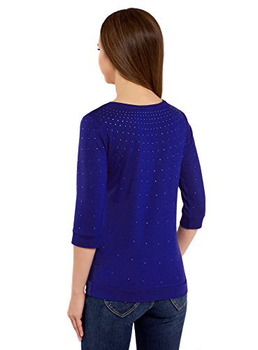 oodji Ultra Damen Pullover mit Metall-Strasssteinen und 3/4-Ärmeln Blau (7500N)