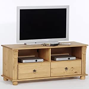 meuble tv bologna en pin finition cir e 2 tiroirs 2 niches cuisine maison. Black Bedroom Furniture Sets. Home Design Ideas