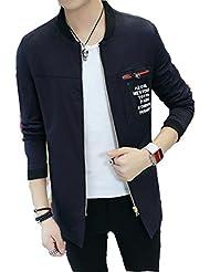 LQABW Otoño Nuevos Hombres Chaqueta Informal Collar Del Soporte De La Sección Larga Chaqueta Abrigo De La Moda,Black-L
