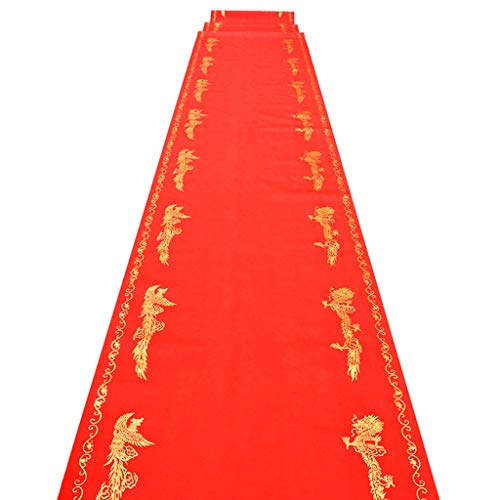Llhy ditan tappeti e tappeti one-time longfeng printing wedding nonwovens rosso (spessore 0,3 mm, larghezza 1 m, lungo 10/20 / 50 m) (dimensioni : 1 * 20m)