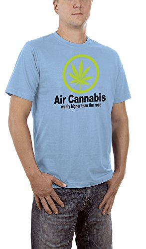 Touchlines Unisex/Herren T-Shirt Air Cannabis - We fly higher than the rest, skyblue, XXL, B1541