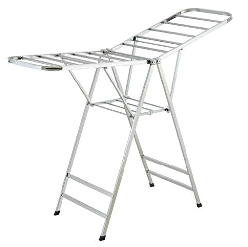 Tao Trockner Airer Faltbarer Edelstahl-Kleidungs-Trockengestell-Balkon stehender Tuch-Aufhänger für Innen- / im Freien (Doppelter Handtuchhalter Stehender)