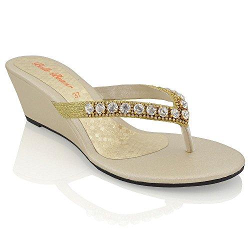 Essex Glam Sandalo Donna Oro con Zeppa Bassa Finto Diamante