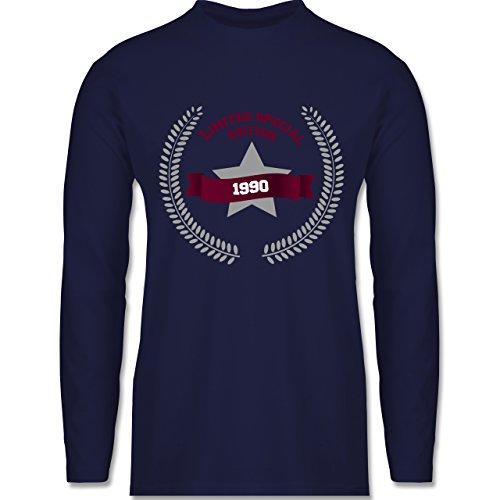 Geburtstag - 1990 Limited Special Edition - Longsleeve / langärmeliges T-Shirt für Herren Navy Blau