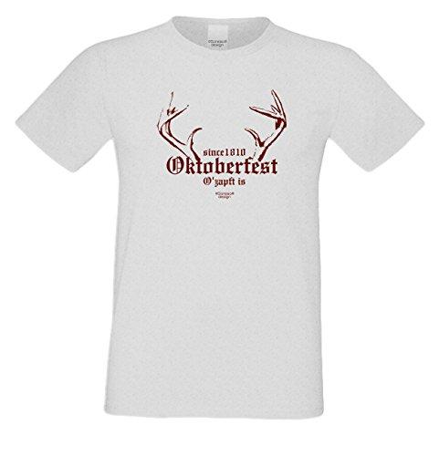 Since 1810 Oktoberfest : Lustiges Fun T-Shirt für Herren Männer Volksfest Trachtenshirt Maidult Oktoberfest auch in Übergrößen bis 5XL Farbe: grau Grau