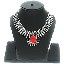 eshopitude Red Onyx Gemstone Antique Oxidized Silver Plated elegant Choker Necklace