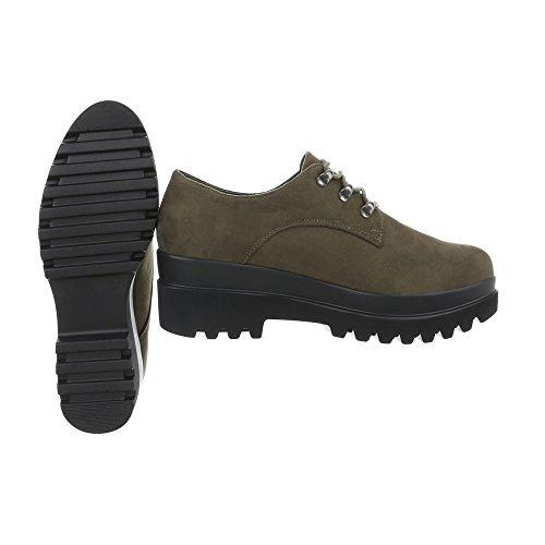 Ital-Design Chaussures Femme Mocassins Plat Chaussures a Laniere Olive Q-1-1