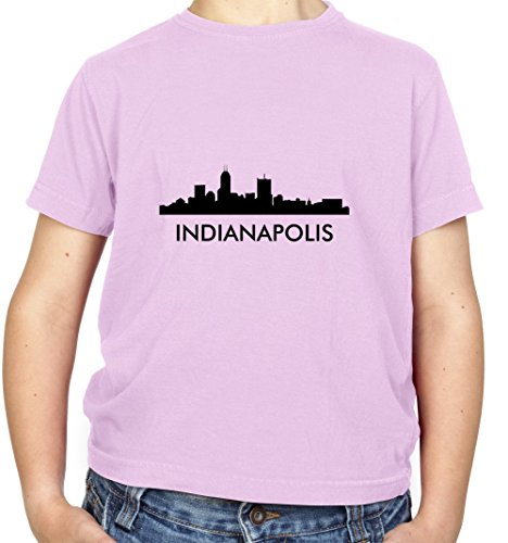 Indianapolis Silhouette - Kinder T-Shirt - Hellrosa - M (7-8 Jahre)