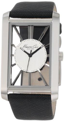 kenneth-cole-transparency-reloj-analogico-de-caballero-de-cuarzo-con-correa-de-piel-negra-sumergible