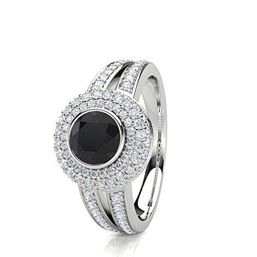 n 2,00Karat Diamant Rund Schwarz Designer Halo Ring in 18kt weiß gold (Black Diamond Halo-ring)