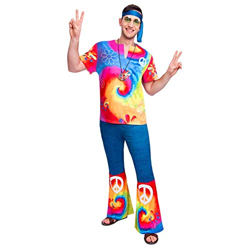 1960s or 70s Tie Dye Hippy Costume for Men, Large or X-Large